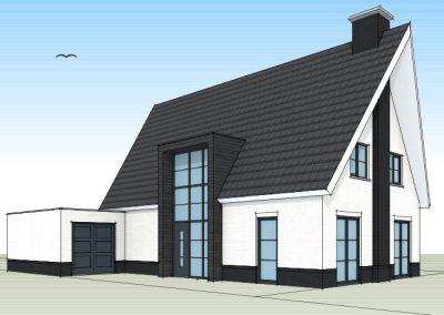 Eigentijdse woning met schuintoelopende dakpunten en modern glaselement