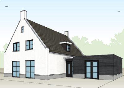 Klassieke landelijke witte woning met tuitgevels