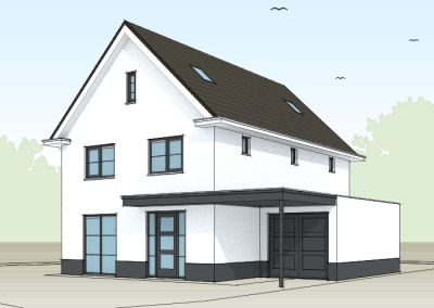 Modern witte woning met entree aan voorzijde
