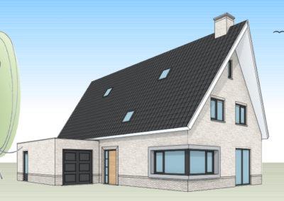 Eigentijdse villa met schuintoelopende dakpunten
