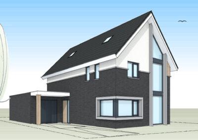 Moderne woning met hoek en glaselement