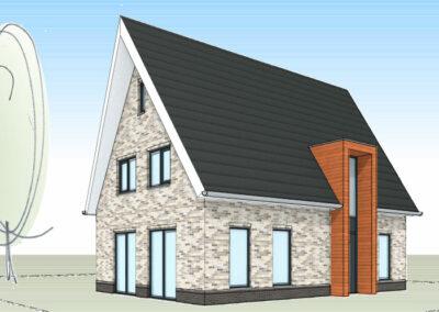Eigenstijdse moderne woning met risaliet in hout