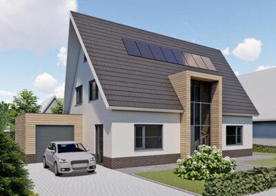 Landelijk moderne woning met houten gevelbekleding